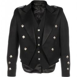 Black Prince Charlie Scottish Kilt Jacket with vest