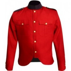 Red Melton Wool Police Tunic