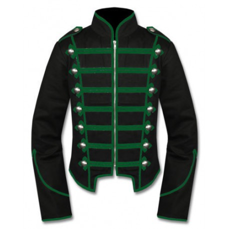 Black Green Military Marching Band Drummer Jacket