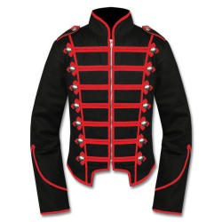 Black Red Military Marching Band Drummer Jacket