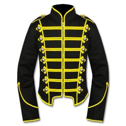 Black Yellow Military Marching Band Drummer Jacket