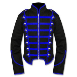 Black Blue Military Marching Band Drummer Jacket
