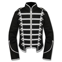 Black White Military Marching Band Drummer Jacket