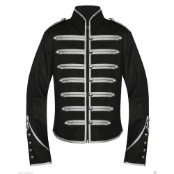 Black Silver Military Marching Band Drummer Jacket