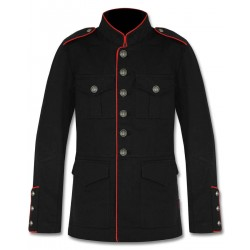 Black Military Jacket with Red Lining