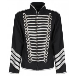 Black Silver Hussar Parade Gothic Jacket Military Drummer Steampunk