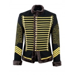 Black Hussar Parade Jacket Military Drummer Officer Faux Fur