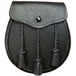 Black Leather Sporran with Chain belt