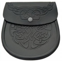 Embossed Black Leather Sporran with Chain belt