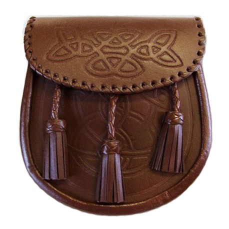 Brown Embossed Leather Sporran with Chain belt