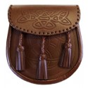 Embossed Brown Leather Sporran with Chain belt