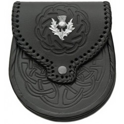 Black Embossed Leather Sporran with Chain belt