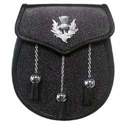 Thistle Badge Black Leather Sporran with Chain belt