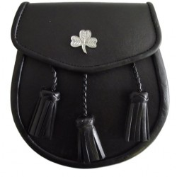 Shamrock Badge Black Leather Sporran with Chain belt