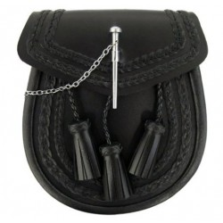 Plain Black Leather Sporran with Chain belt