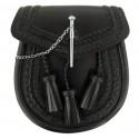 Plain Black Leather Sporran with Chain belt