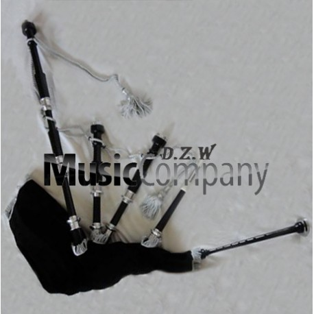 Full Plain Silver Highland African Blackwood or Ebony wood Bagpipe