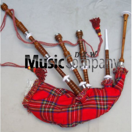 Half Silver Plain Highland Rose wood Bagpipe