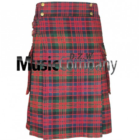 Red Color Scottish Casual Utility Kilt