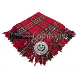 Royal Stewart Scottish Fly Plaid with Knotted Fringe