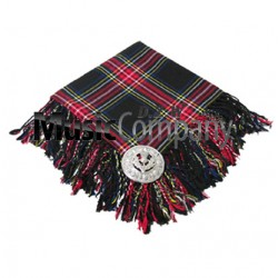 Black Stewart Scottish Fly Plaid with Knotted Fringe