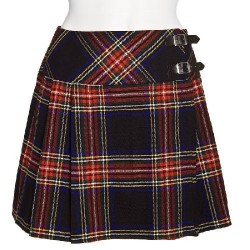 Ladies Black Stewart Scottish Mini Billie Kilt Mod Skirt