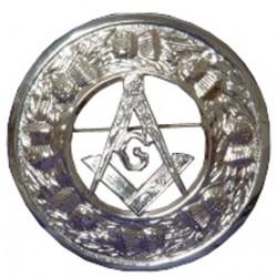 Thistle Plaid Brooch with Masonic Badge