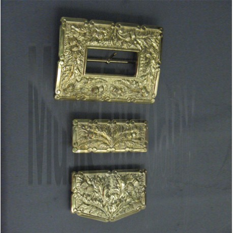 GILT Thistle Cross Belt Buckle Set