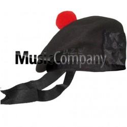 Black Balmoral Hat with Red Ball Pom Pom