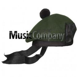 Dark Green Balmoral Hat with Black Ball Pom Pom