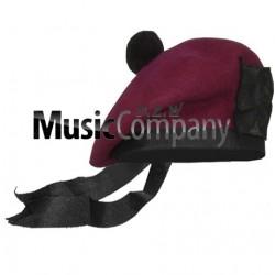 Airborne Maroon Balmoral Hat with Black Ball Pom Pom