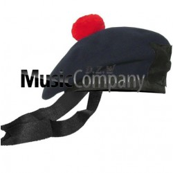 Navy Blue Balmoral Hat with Red Ball Pom Pom