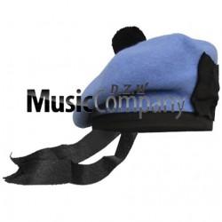 Sky Blue Balmoral Hat with Black Ball Pom Pom
