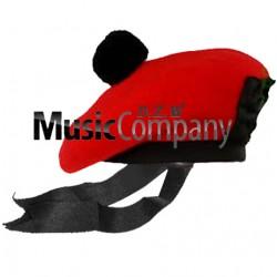 Red Balmoral Hat with Black Ball Pom Pom