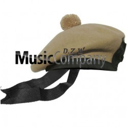 Desert Tan Balmoral Hat with Red Ball Pom Pom