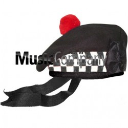 Diced Black Balmoral Hat with Red Ball Pom Pom