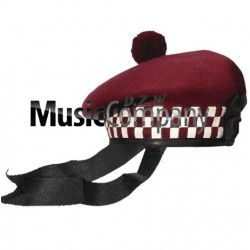 Diced Maroon Balmoral Hat with Maroon Ball Pom Pom