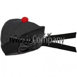 Black Glengarry Hat with Red Ball Pom Pom