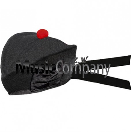 Black Glengarry Hat with Red Ball Pom Pom