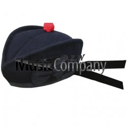 Navy Blue Glengarry Hat with Red Ball Pom Pom