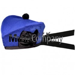 Royal Blue Glengarry Hat with Black Ball Pom Pom