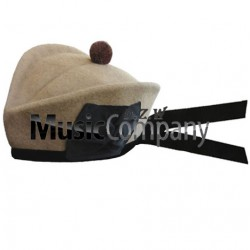 Desert Tan Glengarry Hat with Brown Ball Pom Pom