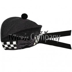 Diced Black Glengarry Hat with Black Ball Pom Pom
