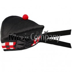 Diced Black Glengarry Hat with Red Ball Pom Pom