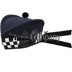 Diced Navy Blue Glengarry Hat with Navy Blue Ball Pom Pom