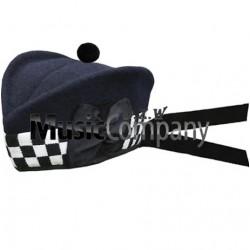 Diced Navy Blue Glengarry Hat with Navy Blue Ball Pom Pom