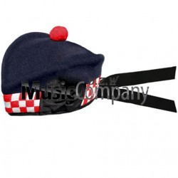 Diced Navy Blue Glengarry Hat with Red Ball Pom Pom