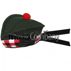 Diced Special Forces Green Glengarry Hat with Red Ball Pom Pom