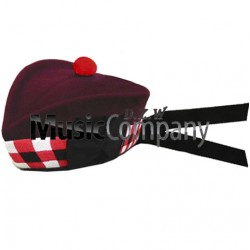 Diced Airborne Maroon Glengarry Hat with Maroon Ball Pom Pom