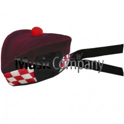 Diced Airborne Maroon Glengarry Hat with Red Ball Pom Pom